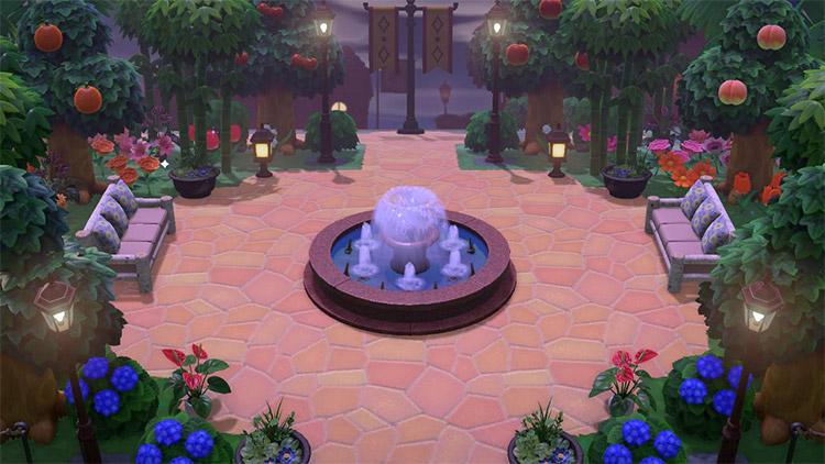 Junglecore park with fountain - ACNH Idea