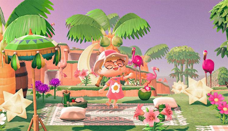 Flamingo junglecore paradise idea for ACNH