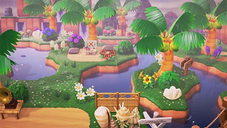 Easy tropical rainforest picnic idea in ACNH
