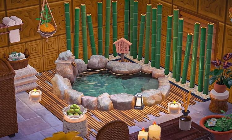 Junglecore bamboo bathhouse idea in ACNH