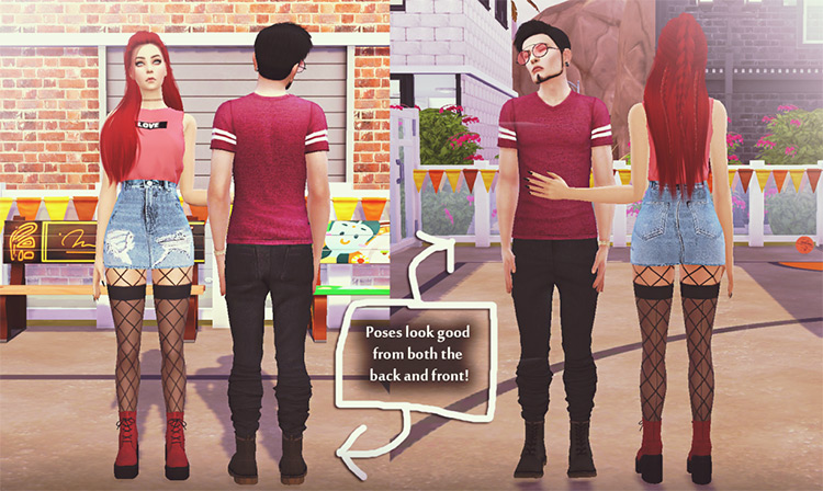 Back to Front Couple Poses Pose Pack by Sims.Babe TS4 CC