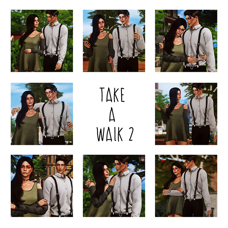 Take A Walk Pt 2 – a pack of walking and talking poses by Andromeda-sims Sims 4 CC