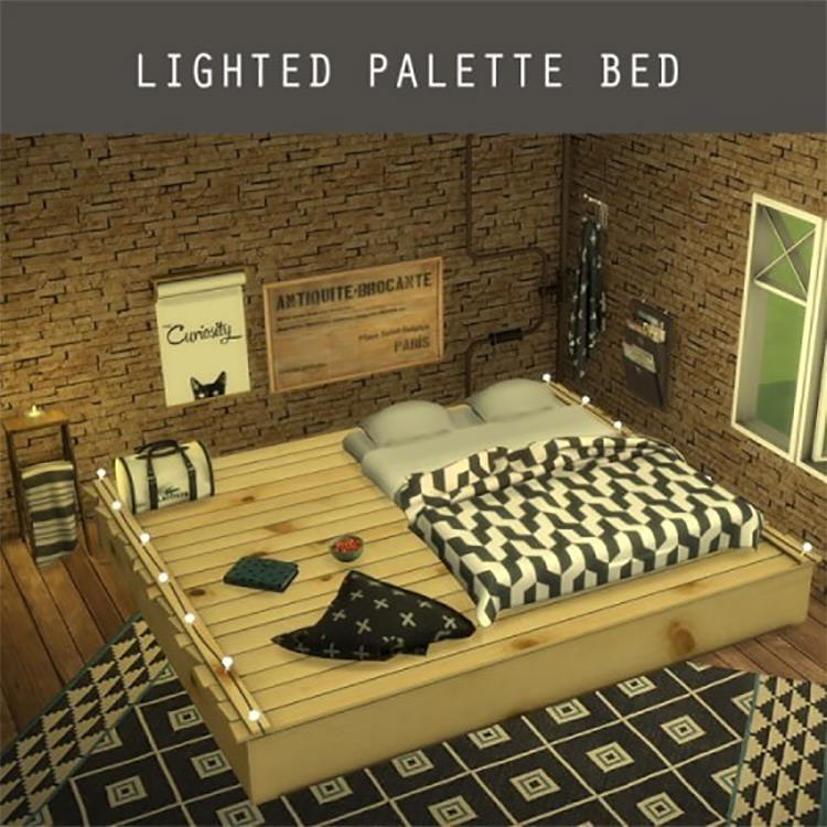 Lighted Palette Bed Sims 4 CC