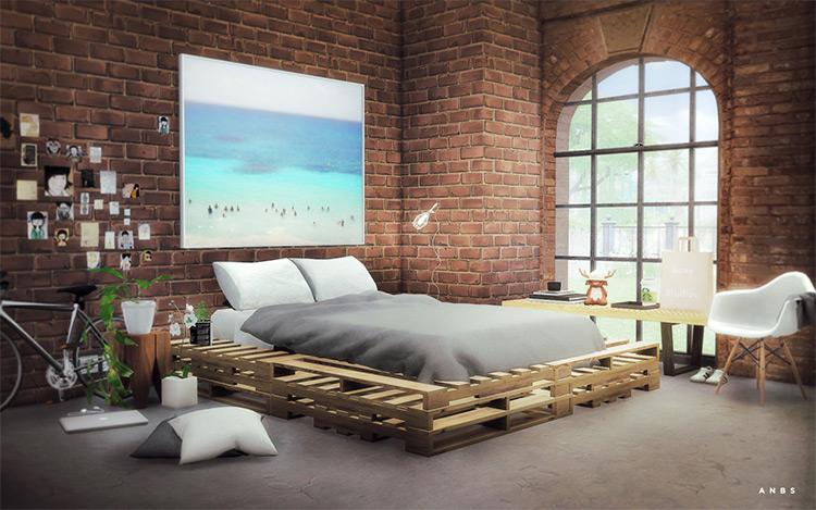 Alachie & Bricks Wooden Pallets Bed TS4 CC