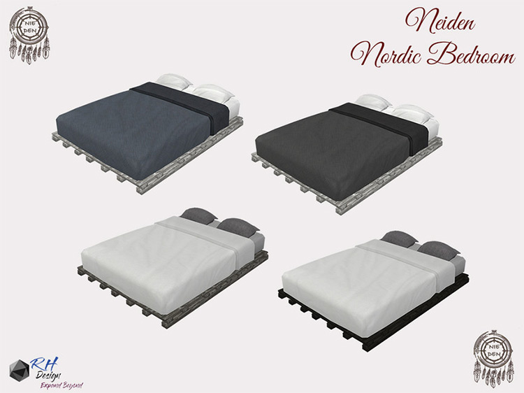 Nordic Modern Bed for Sims 4