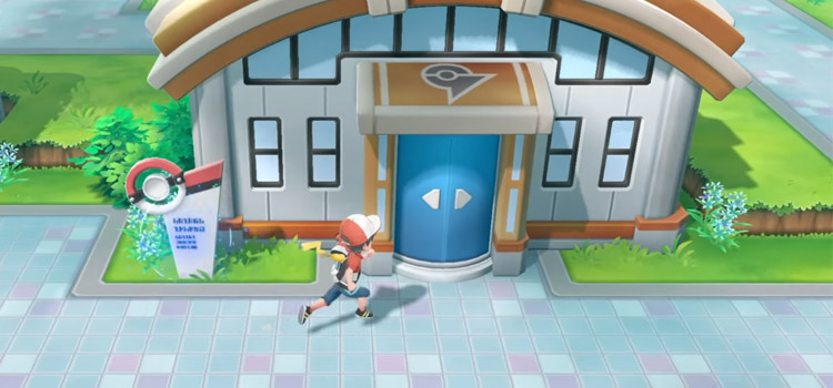 Outside Cerulean City Gym in Pokémon Lets Go