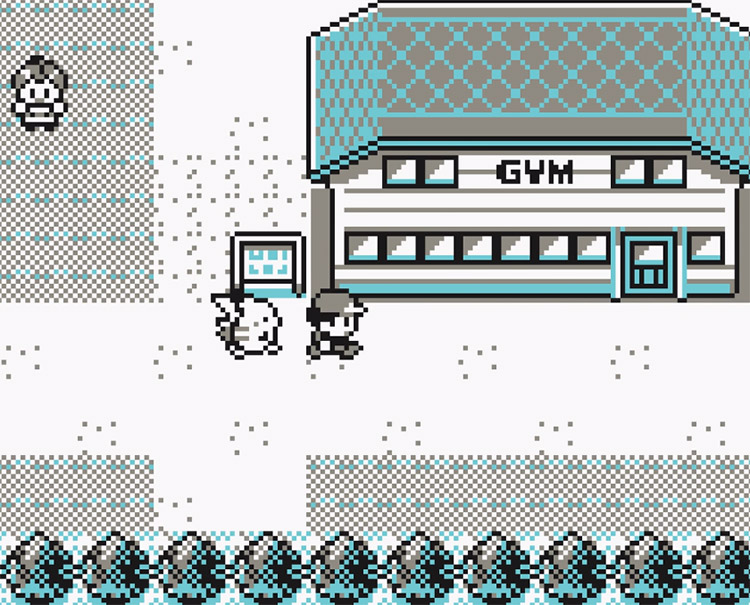 Outside Brock Pewter Gym in Pokemon Yellow