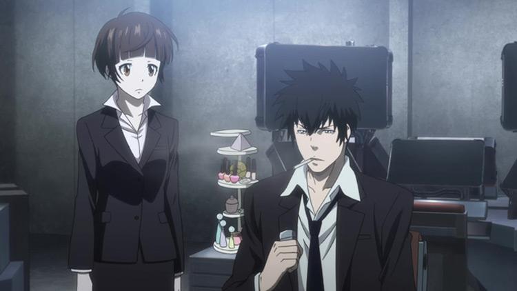 Akane Tsunemori and Shinya Kougami in Psycho-Pass anime