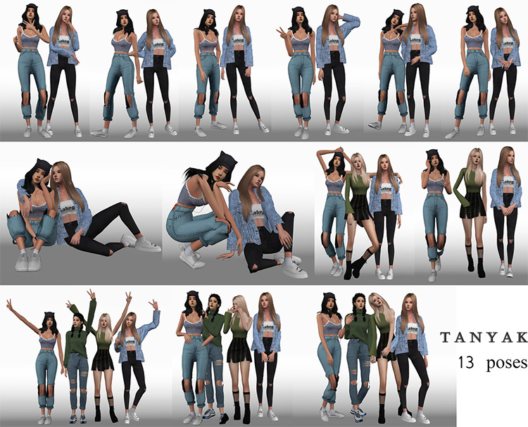 Only Girls Pose Pack for The Sims 4