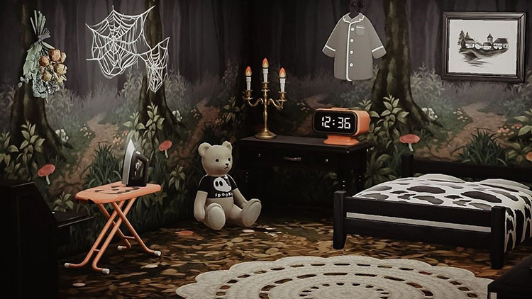 Dark haunted forest bedroom idea in ACNH