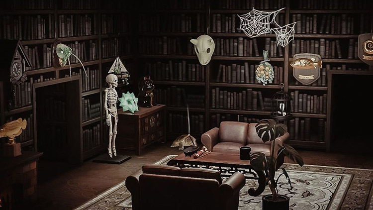 Dark haunted library area in ACNH
