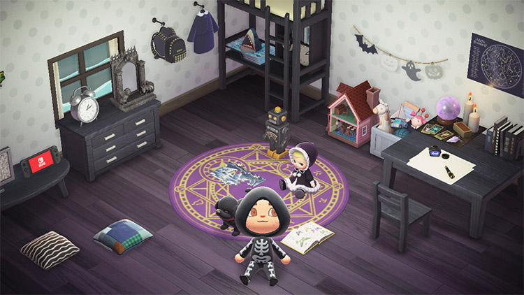 Gothic preschool bedroom design in ACNH