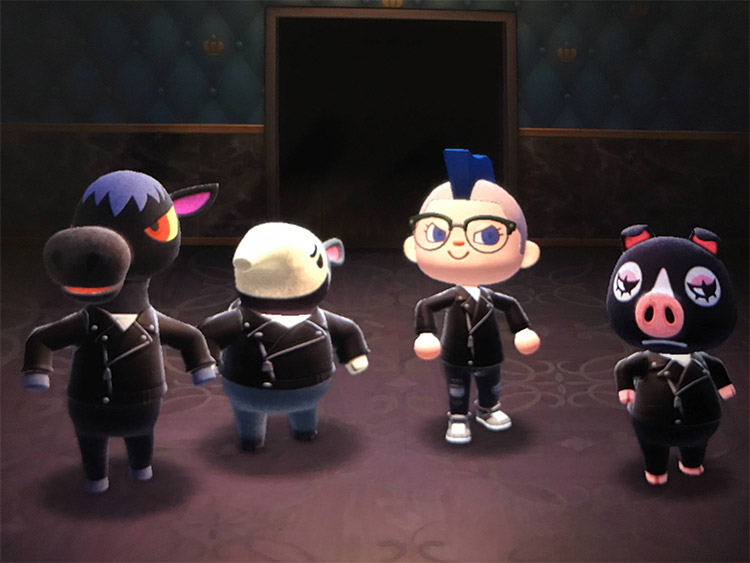 All goth villagers posing in ACNH