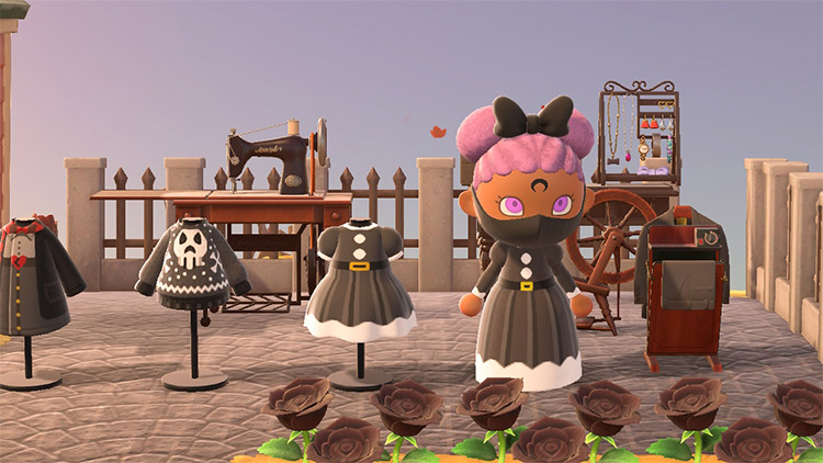 All goth clothes on display in ACNH