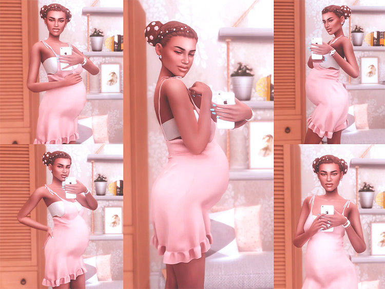 Pregnancy Selfies Pose Pack by Katverse for Sims 4