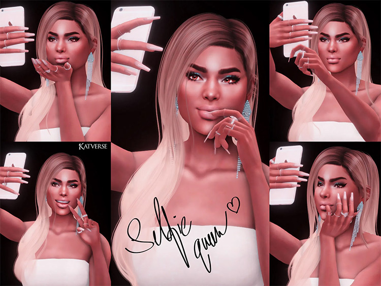 Selfie Queen Pose Pack by katverse Sims 4 CC