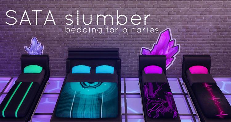 SATA Slumber – Bedding for Binaries by hamburgercakes TS4 CC