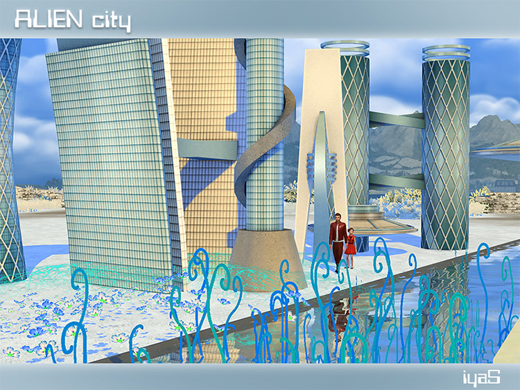 Alien City by soloriya for Sims 4