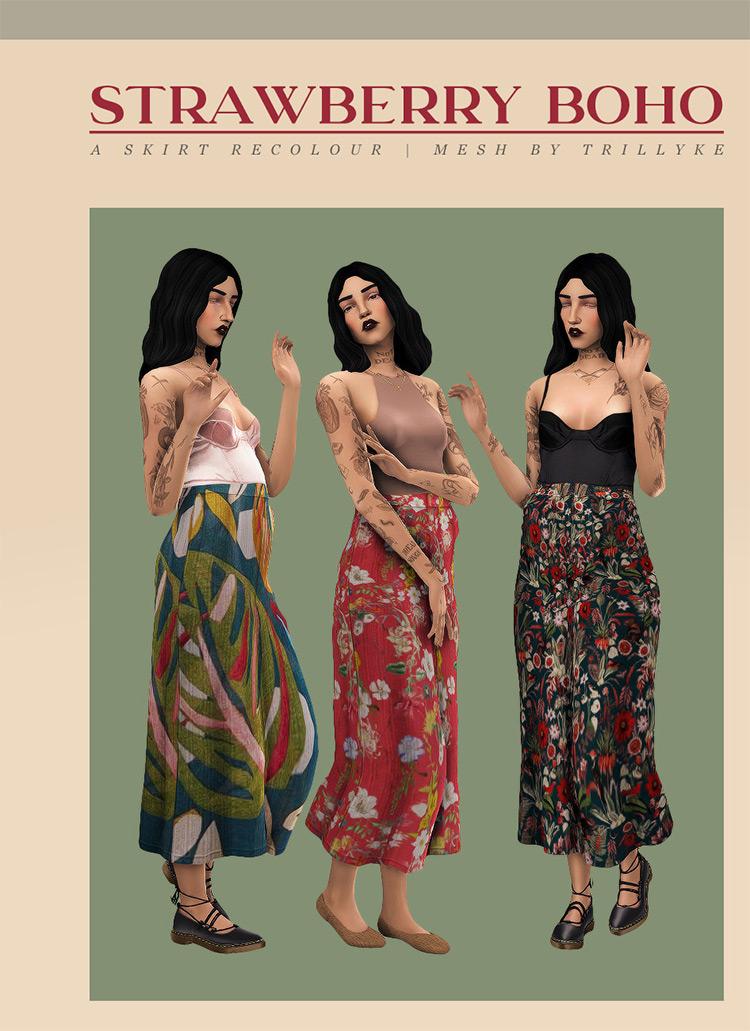Strawberry Boho Skirt for Sims 4