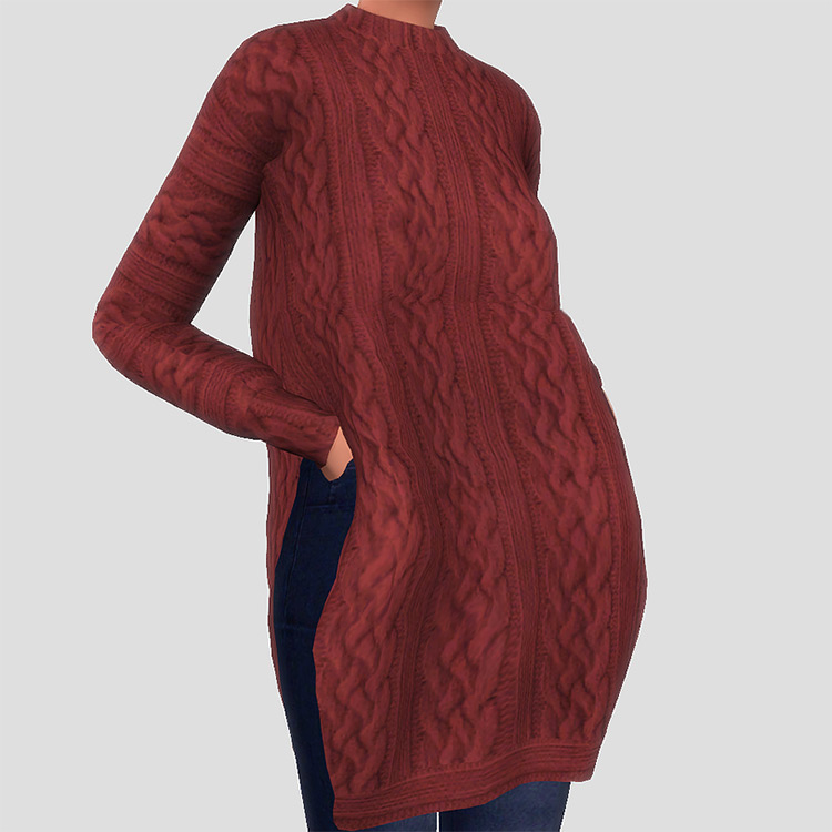Long Side Cut Sweater TS4 CC