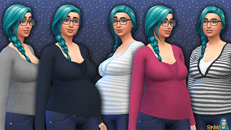 Maternity Basic Tops for Sims 4