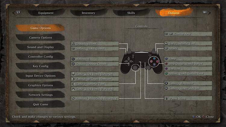 Native PS4 Buttons Sekiro: Shadows Die Twice Mod