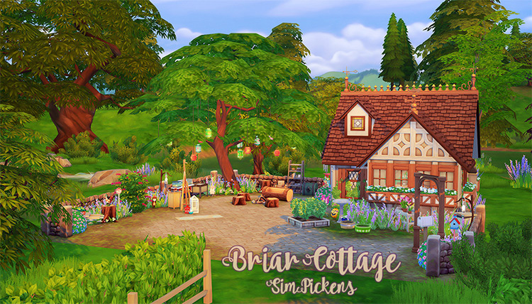 Briar Cottage Lot for Sims 4