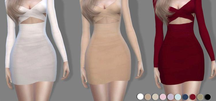 Sims 4 off-shoulder mini dress CC