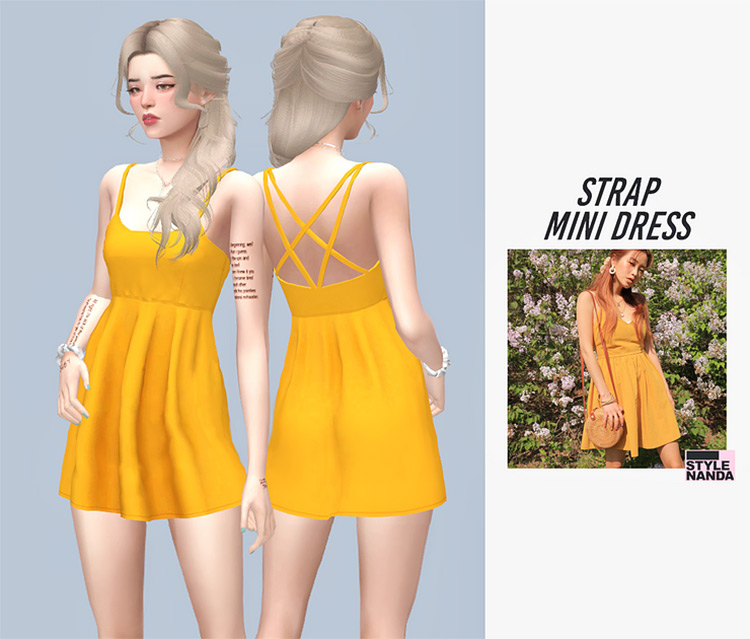 Strap Mini Dress for The Sims 4