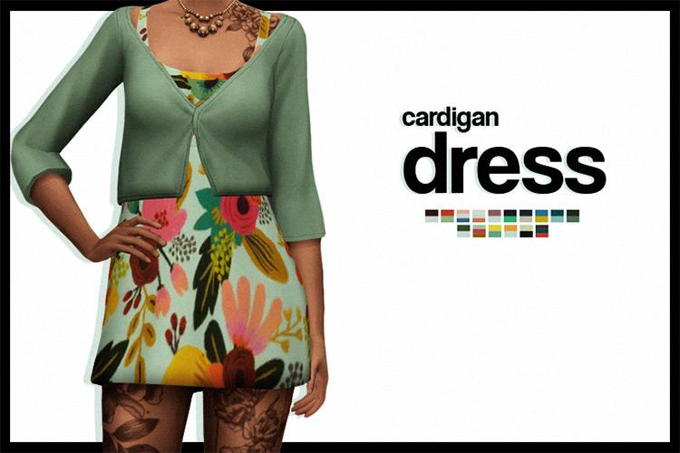 Cardigan Short Dress for Sims 4