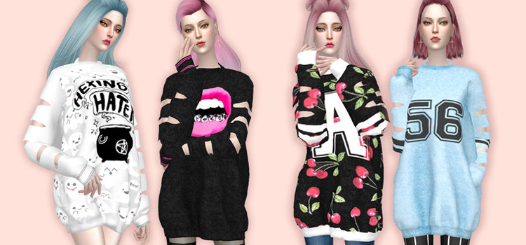 Oversized sweater shirts in The Sims 4