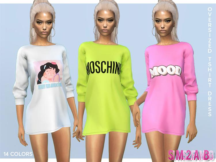 Oversized T-Shirt Dress Sims 4 CC