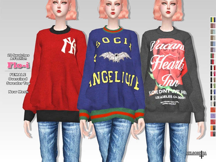 FLOI Oversized Sweater Top for Sims 4