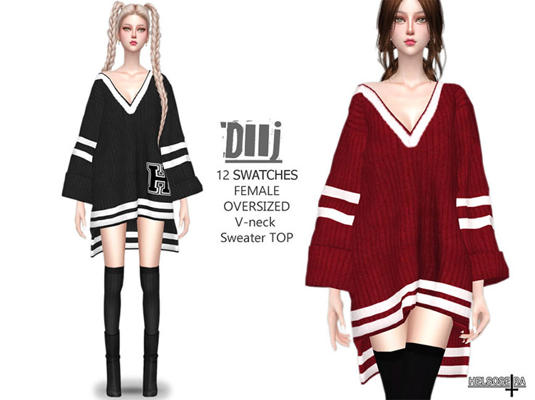 DIIJ Oversized Sweater Top Sims 4 CC