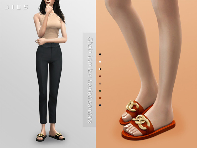 Trim Low-Heeled Sandals for The Sims 4