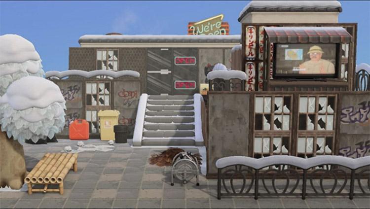 Urban area in winter - ACNH Trashcore idea