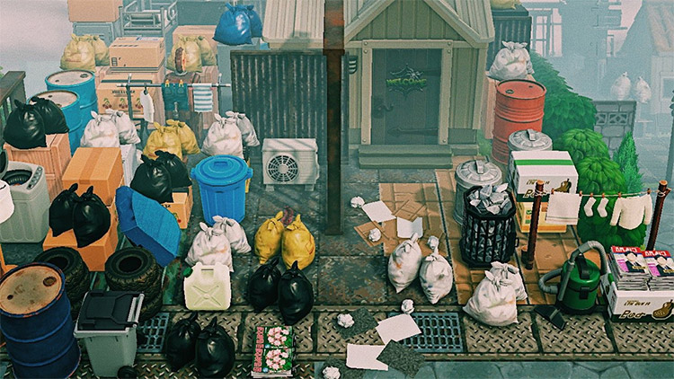 Front yard full of junk - ACNH Trashcore IDea