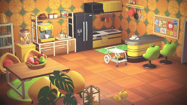 Bright-themed fruit kitchen interior in ACNH