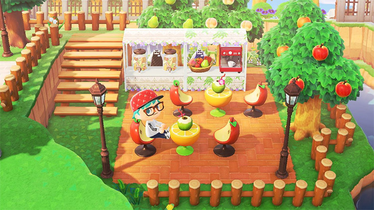 Outdoor fruit-themed cafe by the river - ACNH Idea