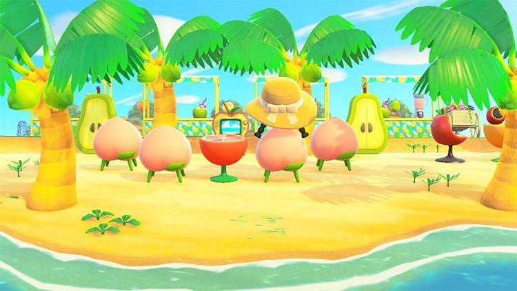 Fruit smoothie bar on the beach - ACNH Idea