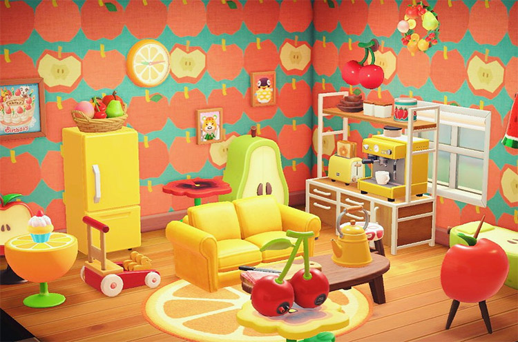 Fruity living room home interior in New Horizons