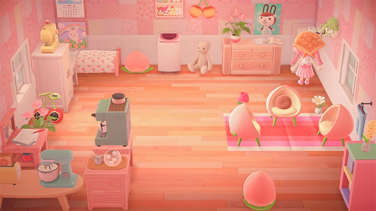 Pink peach bedroom design in ACNH