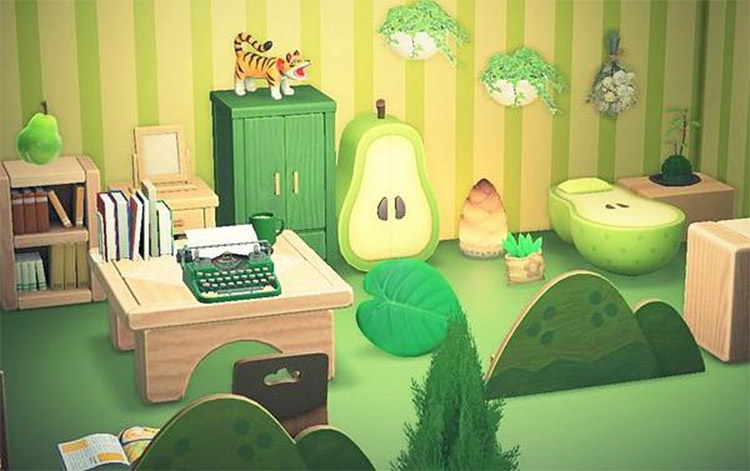 Green pear fruity room design in ACNH