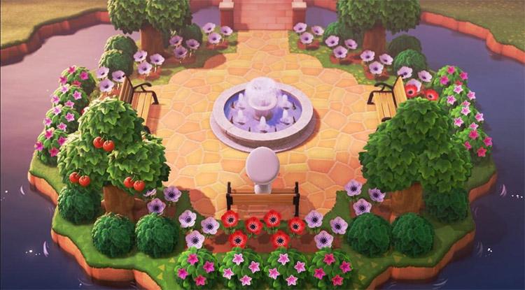 Garden park island with fountain - ACNH Idea