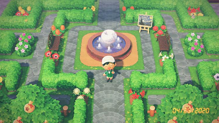 Custom garden maze park area in ACNH