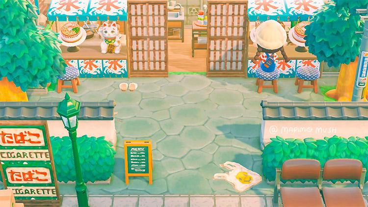 Bright colorful ramen shop exterior - ACNH Idea