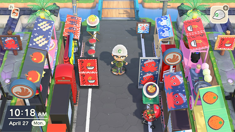 Street marketplace with ramen stalls in ACNH