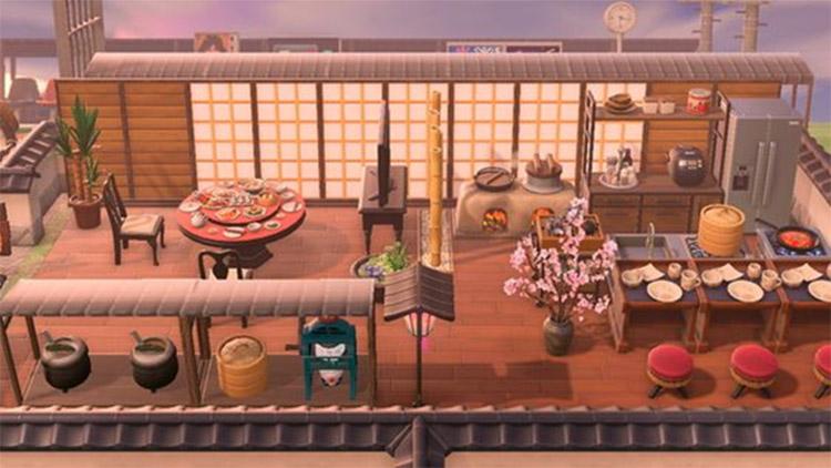 Cherry blossom design for ramen stall - ACNH Idea
