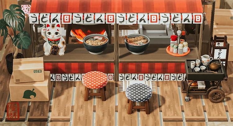 Porch with ramen stall - ACNH Idea