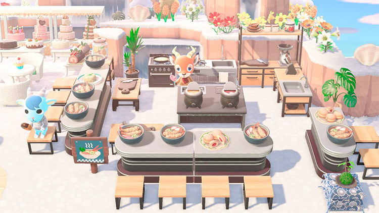 Tiny ramen cooking corner outside - ACNH Idea